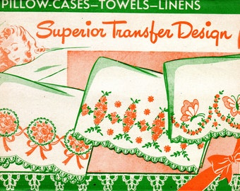 1940s Embroidery Transfer for Pillowcases Towels Linens - Superior Transfer Design 141 - UNUSED Butterflies Floral