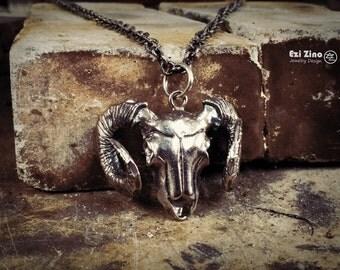 Ezi zino Skull Lamb Pendant biker Handmade solid Sterling Silver 925