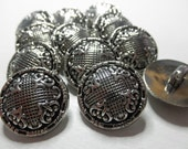 12 Metalized Plastic SILVER Color  Buttons-13/16 inch-   Fabric look Design