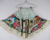 Vintage Circle Skirt Mexican Children Screen Print W 23 AS IS