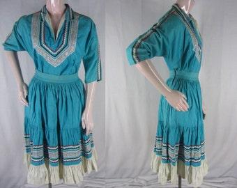 Vintage 50s Fiesta Patio Dress Blue Cotton Rickrack Trim  2 Piece Skirt Blouse