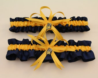 Wedding Garter Set with University of California-Berkeley Themed Colors and Charms, Bridal Garter  (Your Choice, Single or Set)
