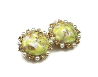 Vintage Earrings, Yellow Art Glass, Easter Egg, Faux Pearl, Retro Jewelry