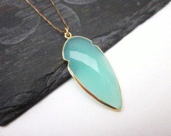 Aqua Pendant Necklace -- Aqua & Gold Necklace -- Aqua Gemstone Necklace -- Shield Necklace -- Aqua Chalcedony Necklace --Gem Shield Necklace