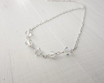 Minimalist silver necklace swarovski crystals necklace silver chain necklace sparkly