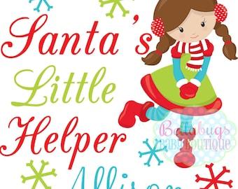 Santa's Little Helper Elf IRON ON TRANSFER - Tshirt - Bodysuit - Girl - Personalized