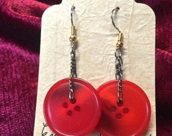 Red Button Earrings One of A Kind