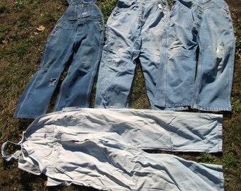 Pick Your Size ...Worn Unisex Mens Blue Denim Carpenter Costume Scarecrow Distressed Overalls (Sizes Are Listed in Description )