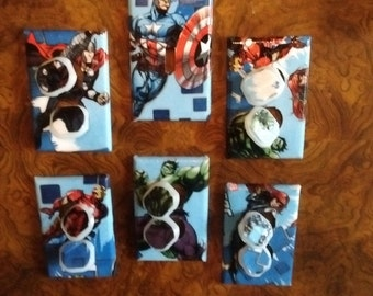 Marvel Avengers Captain America Iron Man Thor Hulk Spiderman Light Switch Plates Outlet Covers or Knobs