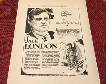 Book page print . Jack London the great rover author. 7 x11 Great for framing for the collector. History.