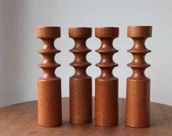 Vintage Teak Candle Holders, Tulip, Architectural, Danish Modern, Mid Century Modern, Denmark