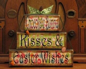 Easter Sign, Easter Decor, Easter Blocks, Spring Decor, Spring Sign, Spring Blocks, Chocolate Bunny Kisses Large Stacker