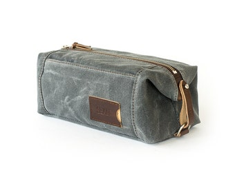 NO. 349 Expandable Dopp Kit with Front Zippered Pocket in Slate Gray Waxed Cotton Canvas and Leather, Personalized Toiletry Bag for Men