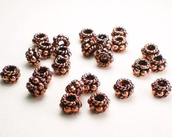Genuine Copper Beads 6mm Solid Copper Spacer Beads 25 pcs. GC-321