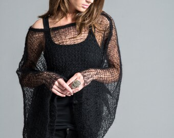 Hand Knit Top / Stylish Cropped Blouse / Black Sweater / Long Sleeve Top / Short Cover Up / Sheer Sweater / marcellamoda k - MC423