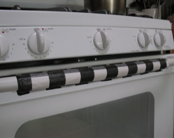 Vinyl Stove and RefrigeratorHandle Covers-Set of 3 Checker Black white and Grey
