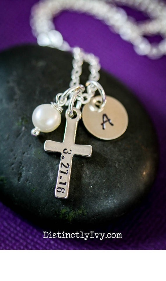 Cross Necklace Baptism Gift First Communion By Distinctlyivy