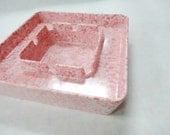 Vintage Pink Bubble Gum Spatter Melmac Melamine Cigarette Ashtray Fun Funky Smoking Collectible Plastic Dish