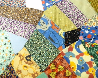 Crazy Quilt Pieced Fabric Large Square Vintage Art Deco Era Dress Prints DIY Feather Stitching Embroidery Project