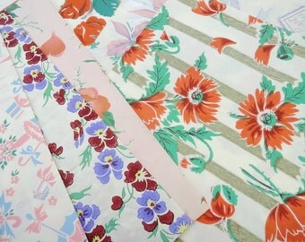 """Pretty Papers Art Deco Vintage Gift Wrap Wrapping Paper Lot (12) EA 30"""" by 20""""Folded Sheets Floral All Occasion Mix Variety Ephemera Lot"""
