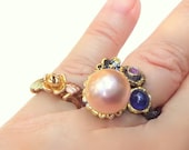 Huge, Pink, Natural Baroque 13mm Pearl, Blue Sapphire, Amethyst, Estate Vintage, Classy Design, Sterling Silver, Rhodium, Gold Highlights