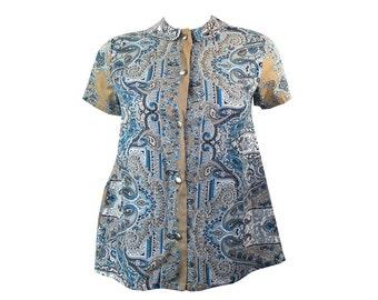 Vintage 1950s Betty Lous Maternities Paisley Cotton Tunic Ladies Maternity Shirt Blouse Small
