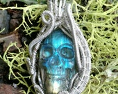 Held for Nola///Rebirth///Labradorite Skull and Sterling Silver Wire Wrap Pendent, One of a Kind, Handmade, Art