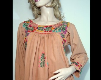 1960s 1970s terra cotta rust brown long sleeve cotton maxi festival dress - XS Small - 34 - 0 2 4 dashiki caftan robe - embroidered smocked