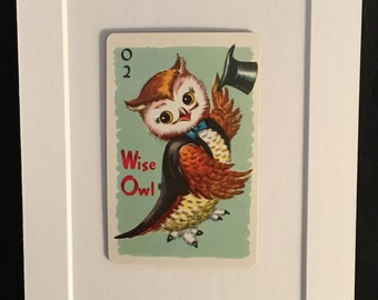 Vtg Wise Owl 5 x 7 Matted Childrens Playing Card