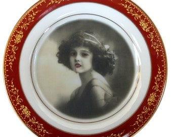 """Lilith the Vampire Girl Portrait - Altered Antique Plate 6.4"""""""