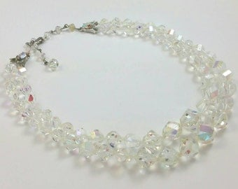 Clear Glass Double Strand Choker Necklace Unsigned