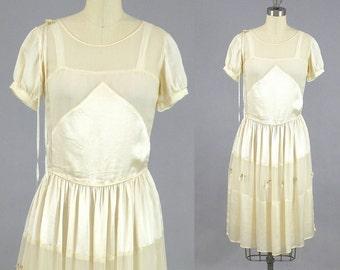 1920s Dress, 20s Silk Dress, 1920s Wedding Dress, Junior Bride, XS Teen or Petite Woman
