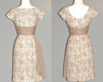 1950s Lace Dress, 50s Dress, Cocktail Dress, Mocha Lace Formal Dress, XS