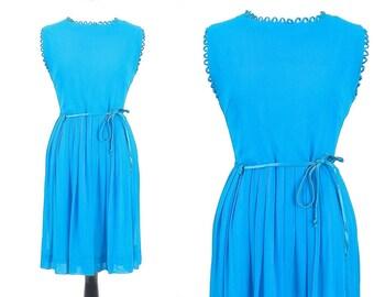 60s Dress, 1960s Cocktail Dress, Turquoise Blue Chiffon Dress, Medium