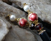 Pair of Red Rose Tensha Hair Sticks with Cream Pearls and Siam Red Black Crystals - Persis
