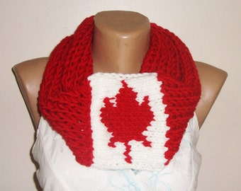 Infinity Scarf - Canadian Scarf - Red Canadian Maple Leaf Scarf - Hand knit scarf for Men or Women - Canadian Gifts