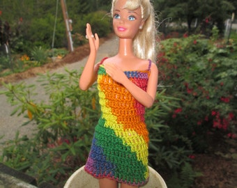 Barbie Doll Dress by SuzannesStitches, Crocheted Dress, Barbie Dress, Handmade Barbie Doll Dress, Summer Dress, Barbie Outfit, Doll Dress