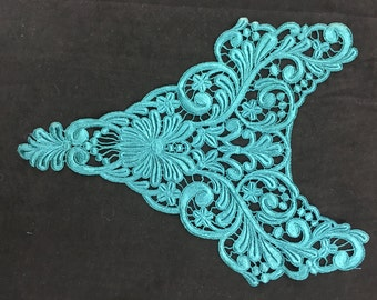 Turquoise Lace Collar Applique