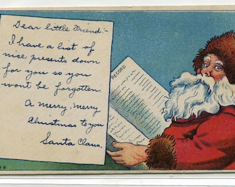 Santa Claus Gift Wish List Merry Christmas Holiday 1910s postcard