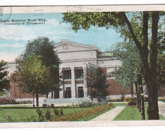 Music Building University of Illinois Urbana Champaign IL 1928 postcard