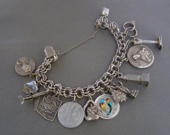 Vintage Sterling Silver Charm Bracelet Empire State Enamel Disneyland Mary Jesus