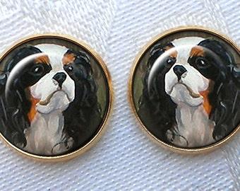 Cavalier King Charles Gold Post Earrings ~ Dog Paintings ~ June Birthday ~ Pet Keepsakes ~ Gold Dog Earrings