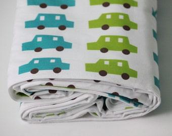 Baby Blanket - Blue and Green Toddler Blanket -Crib Blanket - Toddler Bedding - Cars Baby Bedding-Baby Shower Gift