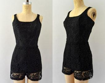 1950s Vintage Romper - 50s Black Lace Sunsuit Bathingsuit Playsuit