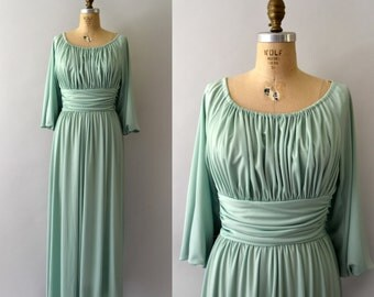 1970s Vintage Dress - 70s Celedon Green Grecian Gown - Summer in Santorini