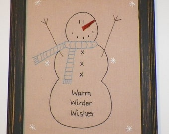 UNFRAMED Snowman Primitive Picture Stitchery Country Christmas Gift Idea Decoration Snowmen Seasonal Holiday Home Decor 8 x 10 wvluckygirl