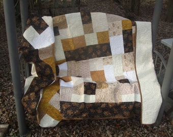 Twin Size Quilt in Golds, Creams, and Browns, Handmade, Traditional Quilt