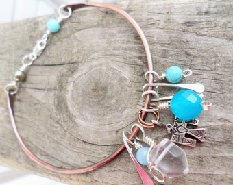 Oxidized Copper and Sterling Silver Charm Beaded Bracelet