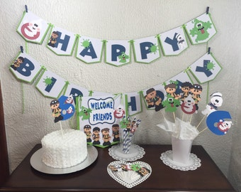 Ghostbusters Personalized Banner/ cake topper/ paper straws/ cupcake toppers/ center piece/ welcome sign/ and more.