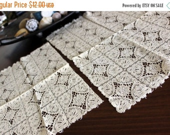 Table Runners, Chemical Lace, Table Scarf in French Cream, Lace Doilies, Matching Table Linens 13139
